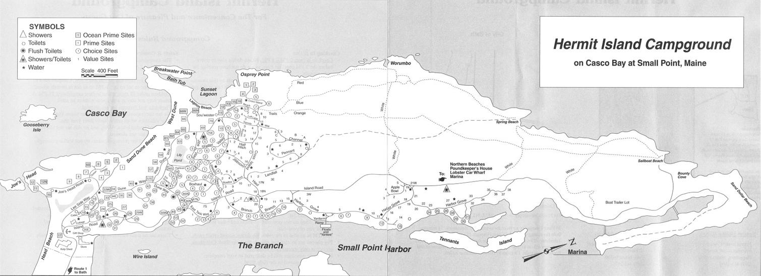 Hermit Island Campground Map Hermit Island Campground, Phippsburg   Maine by Foot