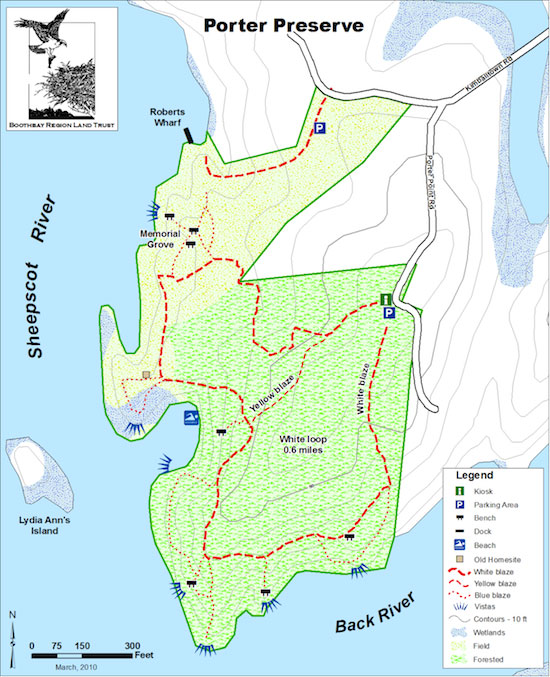 Porter Maine Map.Porter Preserve And Roberts Wharf Boothbay Maine By Foot