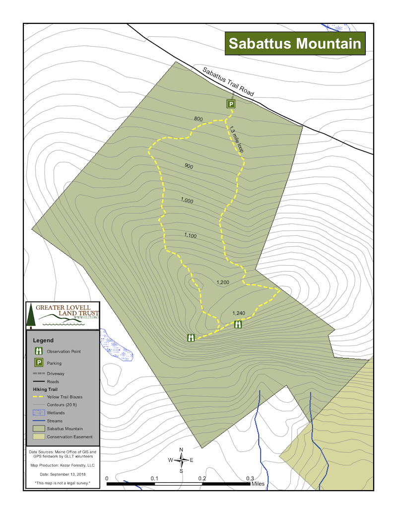 Lovell Maine Map.Sabattus Mountain Lovell Maine By Foot